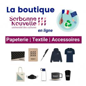 La Sorbonne Nouvelle lance sa #boutique officielle !  📙 🖊 T-shirt, sweat à capuche, mug, carnet, trousse…  📌 Découvrez la première collection à l'effigie de l'université, fabriquée avec des matières écoresponsables en France ou en Europe uniquement.  Retrouvez le lien directement dans la bio → boutique.sorbonne-nouvelle.fr