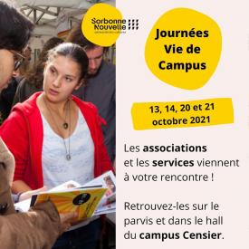 Le Bureau de la Vie Étudiante (BVE) vous propose de rencontrer les associations et services de la Sorbonne Nouvelle à travers des stands tenus sur le parvis et dans le hall du campus Censier ! 🗓 Les 13, 14, 20 et 21 octobre, de 9h à 17h